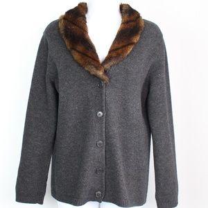 Ralph Lauren gray wool cashmere cardigan faux fur